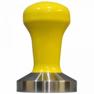Sunshine Yellow Powder Coat Coffee Tamper Set 58mm Stainless Steel Base - Reg Barber-0